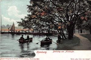 Hamburg Bootsteg am Alsterufer River Boats Promenade Postcard