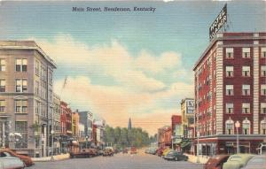 Henderson Kentucky~Main Street~Hotel soaper~Storefronts~40s Cars~Postcard