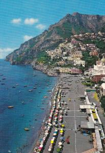 Aerial View of Street and Beach, Boats, POSITANO, Campania, Italy, 50-70´s