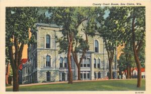 Eau Claire Wisconsin~Stone Construction~County Court House~1940s Postcard