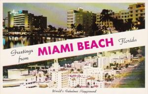 Florida Greetings From Miami Beach Showing Beachfront Hotels
