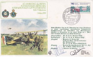 Koln to Folkestone 1919 WW1 DOUBLE Hand Signed German Aircraft FDC