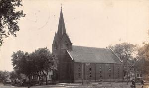 Ackley Iowa~St Johns Evangelical Church~Houses~1920s Cars~Men With Luggage~RPPC