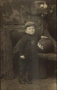 Cute Little Boy Posing w/ Basketball AJC c1910 Real Photo Postcard