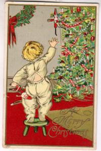 Xmas Card, Child Reaching For Soldier on Tree