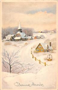 Bonne Anne New Year! Snowy Village, Winter, Hiver, Postcard