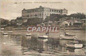 Old Postcard Arcachon Cote d'Argent Grand Hotel Boat