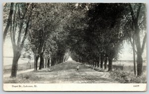 Lebanon Illinois~Depot Street~Boy on Tree Lined Rutted Road~1913 CU Williams
