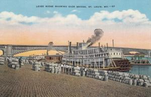 ST. LOUIS , Missouri , 30-40s; Levee Scene, Eads Bridge, Steamboat