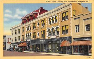 Hampton Virginia Hotel Langley Apartments Linen Antique Postcard K21222