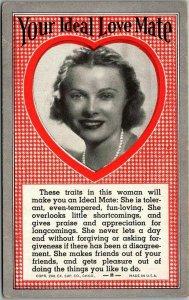 1941 MUTOSCOPE Exhibit Arcade Card Romance Your Ideal Love Mate Blonde Woman