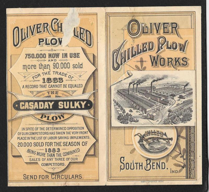 VICTORIAN TRADE CARD Oliver Chilled Plow Black Plowing Field