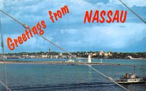 Nassau, Bahamas Virgin Islands Skyline, Passenger Tender Ferrying Nassau, Bah...