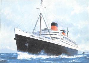 Cunard White Star Line Ship Post Card, Old Vintage Antique Postcard Queen Eli...