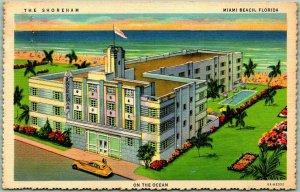 Miami Beach, Florida Postcard THE SHOREHAM HOTEL Ocean View Deckled Linen c1940s