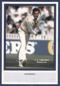 JE Emburey Middlesex Limited Edition Vintage Cricket Trading Photo Card