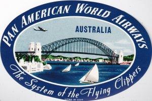 Pan American World Airways To Australia Vintage Airline Label lbl0126