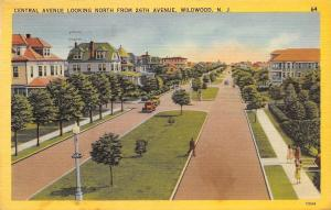 Wildwood New Jersey~Central Avenue Homes & Hotels~1941 Linen Postcard
