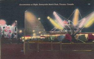 TORONTO , Ontario , 1930s ; Sunnyside Beach , Rides at night
