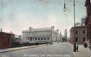 Art Gallery and Free Library, Bury, England, Early Postcard, Unused