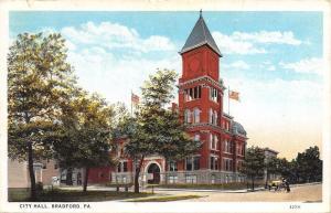 Bradford Pennsylvania~City Hall~Open Belltower 1930 Postcard