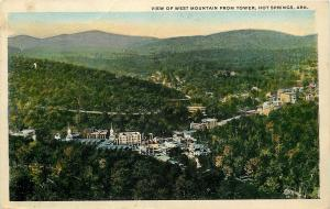 Hot Springs Arkansas~View of West Mountain from Tower~Town in Valley 1923 PC