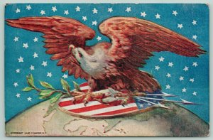 Patriotic~American Bald Eagle on Arrows Shield & Globe~Starry Sky~Embossed~IPCC