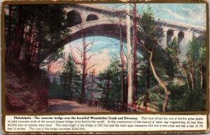 Postcard PA Pennsylvania Philadelphia Concrete Bridge Wissahickon Creek Posted