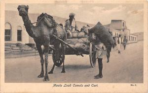 Yemen, Aden, Maala Load Camels and Cart, carriage, commerce