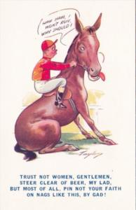 Bamforth Humour Man and Horse Haw Haw I Won't Run