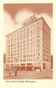 VANCE HOTEL Seattle, Washington 7th & Stewart Street ca 1940s Vintage Postcard