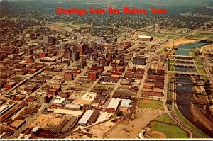 Iowa Des Moines Greetings Showing Aerial View