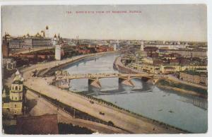 c1910 MOSCOW Russia USSR Postcard Birds Eye View River Bridge People