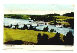 Bridge, Ferry, Indalselfven, Sweden, Axel Eliassons Konstforlag, Bron vid Berge