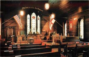Trinity Episcopal Church Mackinac Island Michigan interior view alter Postcard