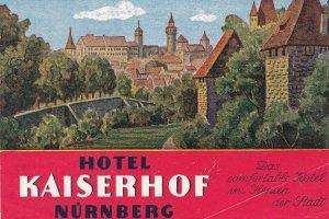 Germany Nuernberg Hotel Kaiserhof Vintage Luggage Label sk3256