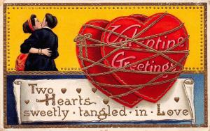 D61/ Valentine's Day Love Holiday Postcard 1912 Chagrin Falls Ohio Tangled GOld7