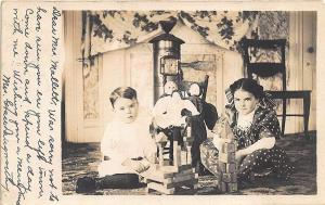 Westerly RI Children Playing w/ Dolls Blocks Toys Stove 1907 RPPC Postcard