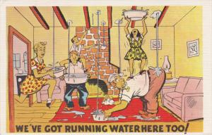 1930-1940's; We've Got Running Water Here Too!, Family Putting Buckets Unde...