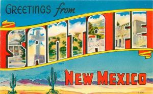 Colorpicture Large letters multi View 1950s Santa Fe New Mexico postcard 10043
