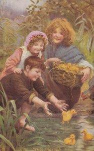 3 kids play w/ ducklings Fuss & Fun , 00-10s