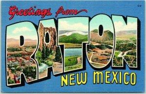 Vintage 1940s RATON New Mexico Large Letter Postcard Curteich Linen / Unused