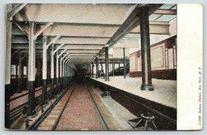 New York City~Empty Subway Station~Platform by Tracks~Stairway~1905 Postcard