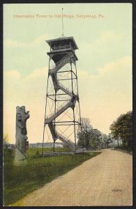 Observation Tower Oak Ridge Gettysburg Pennsylvania Unused c1910s