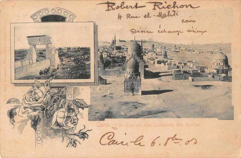 Cairo Caire Egypt Tombs Kalifes Scenic View Antique Postcard J55863