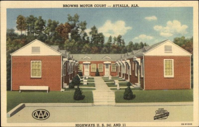 Attalla AL Browns Motor Court Linen Postcard