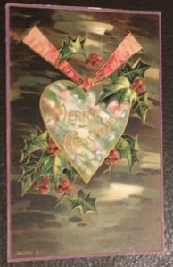 Vintage Embossed Christmas Postcard with stamp, 1913