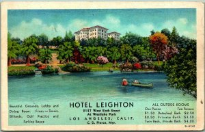 Los Angeles, CA Postcard HOTEL LEIGHTON Westlake Park View / 1940s Rates on Back