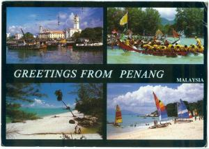 Greetings from PENANG, Malaysia, 1988 used Postcard