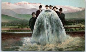 1910s San Bernardino, California Postcard Men Standing at City Wells ACMEGRAPH